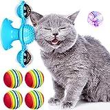 Sumind Set de Juguete de Gato de Molino de Viento, 5 Juguetes Interactivos de Gato Incluyen 1 Molino de Viento con Bola LED 4 Bolas de Espuma de Arcoiris para Cosquillas de Gatos Interior