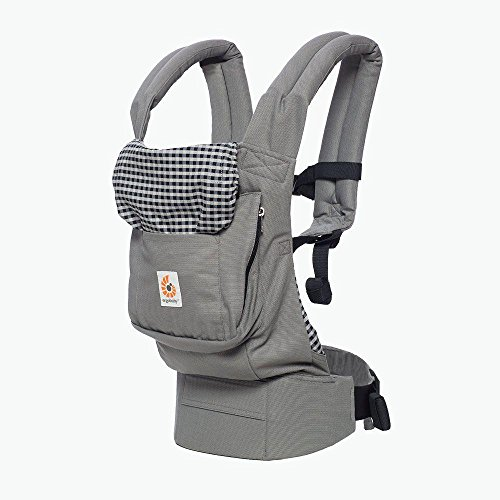 Ergobaby Carrier, Original 3-Position Baby Carrier with Lumbar Support and Storage Pocket, Steel Plaid