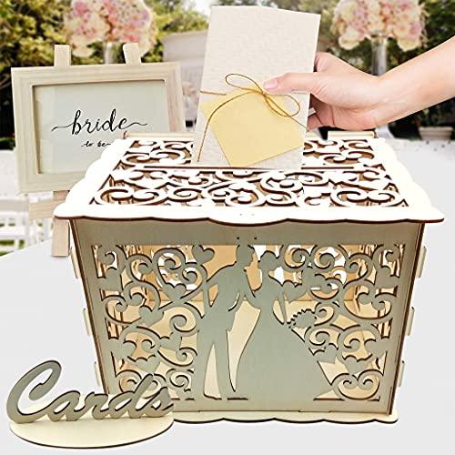 Alnicov - Scatola per biglietti di nozze, decorazioni rustiche in legno per matrimoni e matrimoni in campagna, con serratura per ricevimenti nuziali, feste nuziali e anniversari