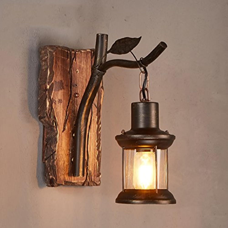 Unbekannt Dekorative Lichter Retro Tun alte Feste Holz Wandleuchte Schlafzimmer Bedside Lampe Kreative Treppen Balkon Leuchten Korridor Wandleuchten (Farbe   A)