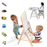 Kids Art Easel, QZM Deluxe Standing Easel Set, Adjustable Art Table, Magnetic Dry Erase Bo...