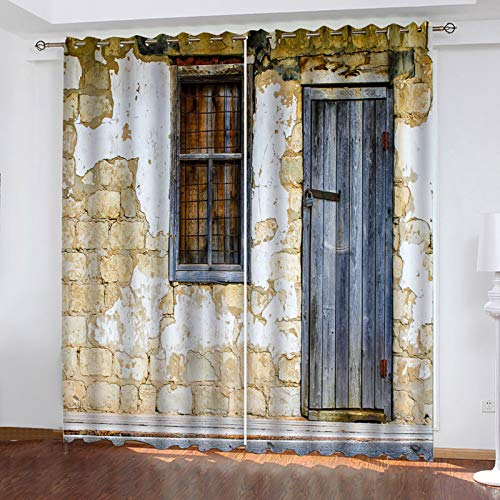MMHJS Perforated Curtains For Easy Installation Microfiber Curtain With 3D Wooden Door Effect Suitable For Curtains Of Balcony, Bathroom And Bedroom 2 Pieces