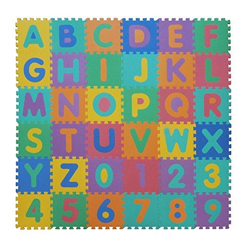 VeloVendo® - Tappeto Puzzle con Certificato CE e Testato TÜV Rheinland in soffice Schiuma Eva | Tappeto da Gioco per Bambini | Tappetino Puzzle (Lettere + Numeri)
