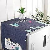 Cubierta de Polvo Refrigerador, Chickwin Algodon y Lino Multiusos de Guardapolvo con Bolsa Almacenamiento Adecuado, Cubierta Polvo Superior Protector para Secadora Lavadora (Cactus Azul,170x68cm)