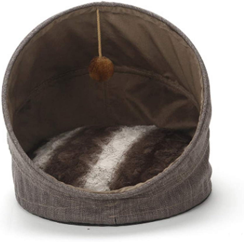 CHONGWFS Cat Litter Semi-Closed Four Season Cat Supplies Kitten Cat House Summer Cat Sleeping Bag Kitten Mat (Material   Brown)