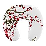 CIKYOWAY Almohada Viaje,Naturaleza Sakura Blossom Japanese Cherry Tree Garden Verano Vintage Cultural Print,Espuma de Memoria cojín de Cuello,Almohadas de Acampada,Soporte de Cuello para Viaje Coche