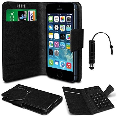 N4U Online®–Oppo Joy Plus schwarz PU Leder Saugnapf Pad Wallet Schutzhülle und Mini Stylus Pen