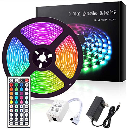 Led Strip Lights 5050 RGB 150 LEDs Light Strips Kit 16.4ft IP65 Waterproof Flexible Tape Lights Color Changing with 44 Keys IR Remote Controller and 12V Power Supply for Home, Bedroom, Kitchen (5m)
