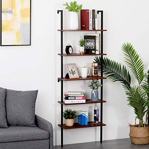SCOZER 5-Tier Industrial Ladder Bookcase with Metal Frame, Wood Wall-Mounted Display Tall Stand Bookshelves, Stable Plant Flower Display Storage Rack Bookshelf for Home Office