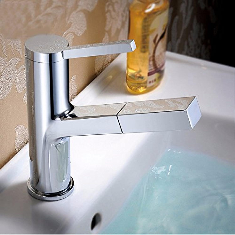 LHbox Einzelne Bohrung Becken Ziehen Wasserhahn, Waschbecken Pull-Down-Hahn, hei und Kalt Wasserhhne, Kupfer Persnlichkeit.