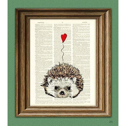 Dictionary Art Print Printed On Authentic Vintage Dictionary Hedgehog Love