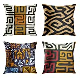 ArtSocket Set of 4 Throw Pillow Covers Orange Tribal Kuba Inspired Earth Colors Geometric Ethnic Black Brown Mud African Decorative Pillow Cases Home Decor Square 18x18 Inches Pillowcases