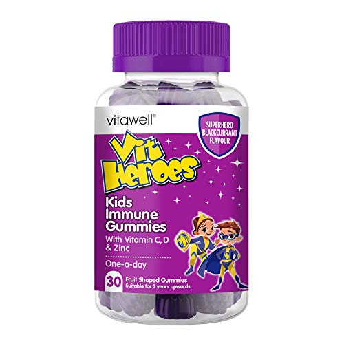 VITAWELL Vitamin Heroes Kids Immune Gummies | 30 Blackcurrant Flavour Gummies | Contains Vitamins B6, B12, Vitamin D3, Zinc and Vitamin C