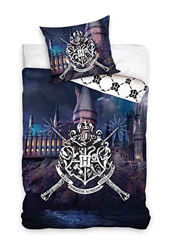 rainbowFUN.de Harry Potter - Juego de cama reversible, 2 piezas, 100% algodón, funda nórdica de 135 x 200 cm y funda de almohada de 80 x 80 cm, diseño de Hogwarts Gryffindor Slytherin