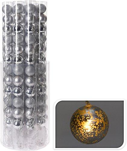 Lichtketting zilveren bollen LED warmwit lichtketting LED's kerstdecoratie (12 ballen = 305 cm)