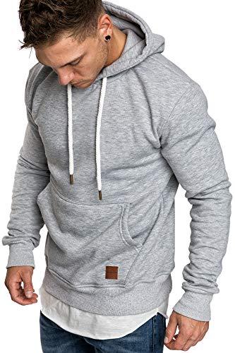 Amaci&Sons Herren Basic Kapuzenpullover Sweatjacke Pullover Hoodie Sweatshirt 4023 Hellgrau L