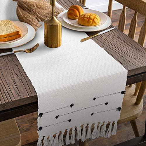 Boho Farmhouse Table Runner FAHOUSE Farmhouse Moroccan Geometric Cotton Woven Tufted Fringe product image