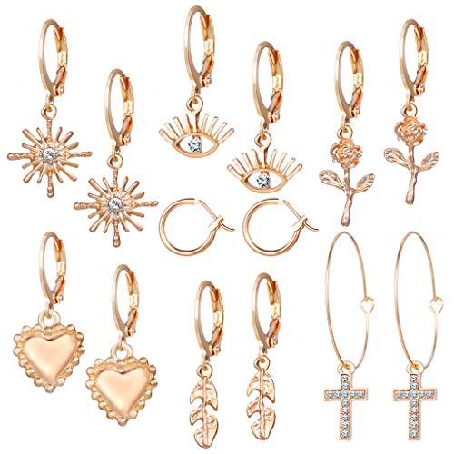 GUMEI 7 Pares de Pendientes Colgantes de aro con Forma de corazón y Ojos Cruzados, Conjunto de Pendientes de Flores para Mujer, joyería