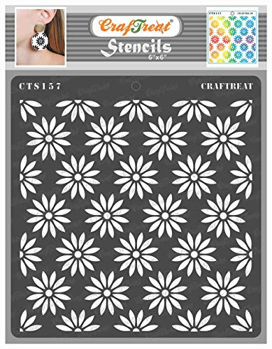 CrafTreat Daisy Flower Stencils for Painting on Wood, Canvas, Paper, Fabric, Floor, Wall and Tile - Daisy Background - 6x6 Inches - Reusable DIY Art and Craft Stencils for Painting Flowers Drawing