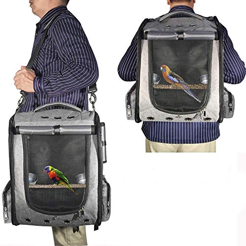 COGOWAI 鳥用 インコ キャリー リュック 通気 耐久性 軽量 携帯便利 移動用 止まり木/おもちゃ/水と餌入れ付き (グレー)