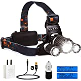 LIGHTESS Headlamps Rechargeable Waterproof LED Head Lamps Flashlight with 3 XM-L T6