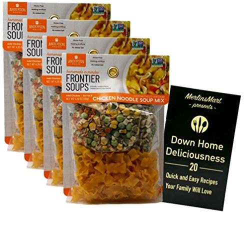 Frontier Soups Gluten Free Natural Soup Mix | Connecticut Cottage Chicken Noodle (4.25 Ounces) | Pack of 4 Plus Recipe Booklet Bundle