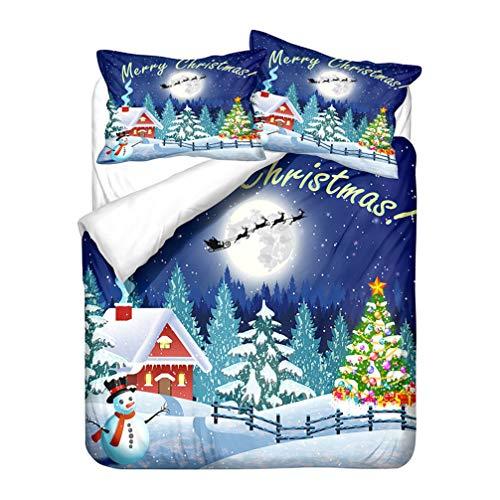 Xmas Blue White Red Green Bedding set Christmas Santa Claus Deer Snowflake Duvet Cover and Pillowcase Microfiber Boy Girl (Style 1,Double 200x200 cm)