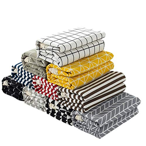 Hunterace Mantel de lino de algodón Rejilla de encaje de rayas Rectangular Cubierta de mesa para cocina Mancha A prueba de polvo Mantel (140 * 200CM) -1