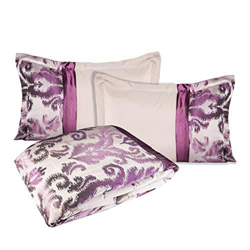 Eurofirany Eleganter Set Tagesdecke Betty 220x240 cm + 2 x Kissenbezüge 50x70 cm Satin violett Steppung Glanz LUX