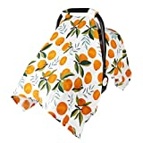 Baby Car Seat Cover Infant Carseat Canopy, Metplus 100% Cotton Muslin Carrier Covers - Lightweight Breathable Soft Unisex for Babies (Oranges)