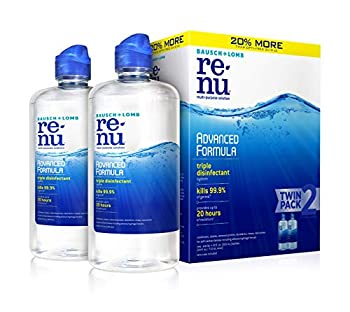 Contact Lens Solution by Renu Multi-Purpose Disinfectant Advanced Formula Kills 99.9% of Germs 12 Fl Oz  Pack of 2