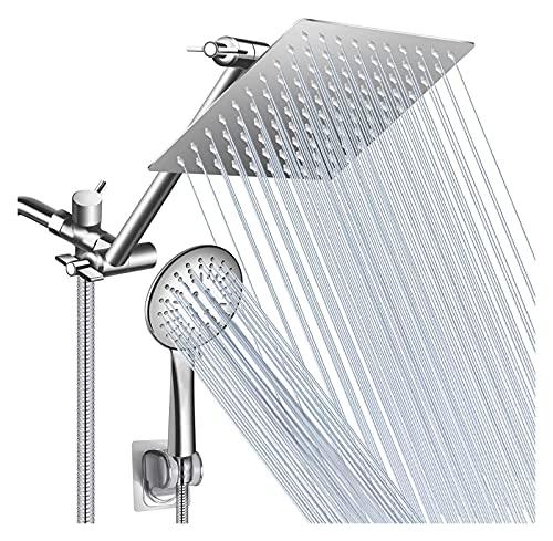 Juego de ducha cabezal de ducha Cabezal de ducha,cabezal de ducha de lluvia de 8 pulgadas con brazo de extensión de ajuste de 11 pulgadas/combo de cabezal de ducha de mano de alta presión,3 ajuste de