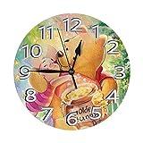YANPING Modern Silent Wall Clock 10 Inch Honey Winnie The Pooh Design Non-Ticking Arabic Numerals Quartz Decorative Clock