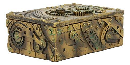"Ebros Steampunk Mechanical Gears Clockwork Vintage Design Jewelry Box Figurine 5""L Science Fiction Steampunk Trinket Box 4"