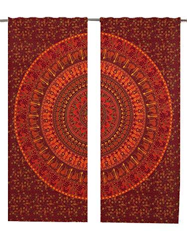 Mandala-Fenstervorhänge, 2 Stück, 82 Längen, Pfauenmotiv, indisches Boho-Mandala, Boho-Vorhang-Set, Wanddekoration, Mandala-Wandteppich, Boho-Dekovorhänge, Fenstervorhang, Fensterbehandlung, Paneel