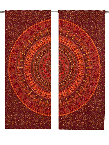 Mandala Gardinen Einsätze Paar 82Länge, 2Stück Pfau indischen Bohemian Mandala Boho Vorhang Set Wall Fenster, Mandala Tapisserie Boho dekorativen Gardinen Fenster Vorhang Fenster Behandlung Panel