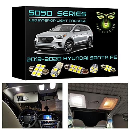 Fyre Flys 11 Piece White LED Interior Lights for 2013-2020 Hyundai Santa Fe 6000K 5050 Series SMD Package Kit and Install Tool