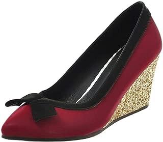 TAOFFEN Women Fashion Wedge Heel Court Shoes Slip on