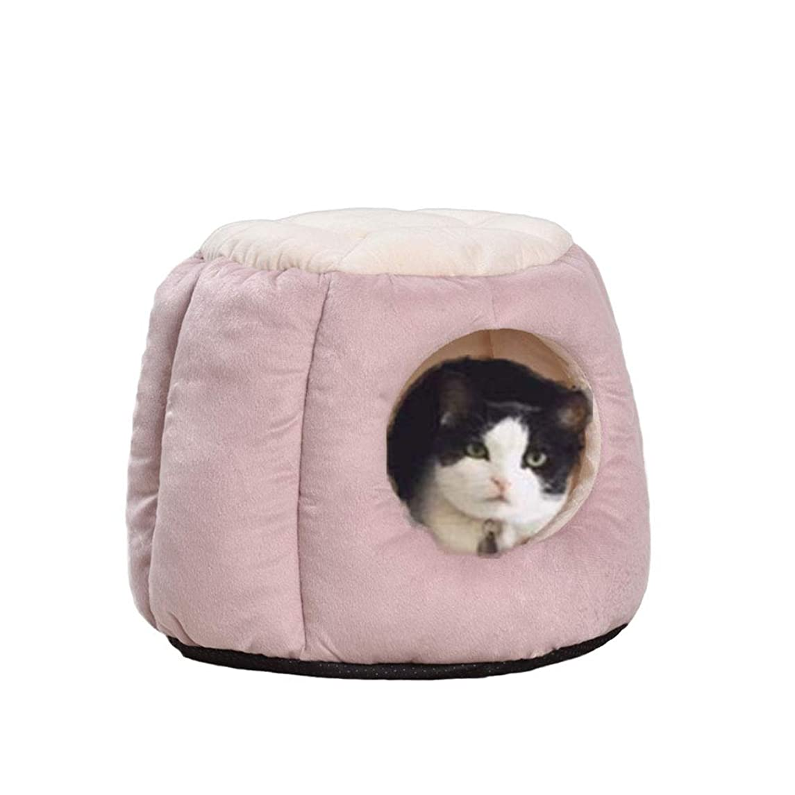 Oncpcare Kitty Cat House Small Animals House Soft Warm Rabbit Hut Frustum-Shape Guinea Pig Bed Hideout with Removable Cushion for Winter