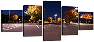 VEXRLU Parking lot in Autumn at The Harbour of sundsvall Colorful autumns 5 Pcs Premium Canvas Art Wall Hanging Paintings Modern Abstract Decoration Artworks Gift Unique Designed with Wooden Frame
