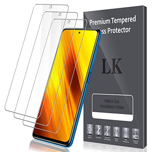 LK Panzerglas Schutzfolie für Poco X3 NFC, 3 Stück, HD Klar Gehärtetem Glas Displayschutzfolie,[Anti-Kratzen] [Blasenfrei]