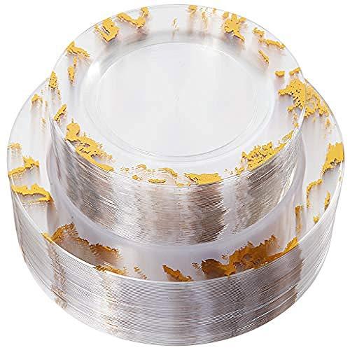 Wegwerp kunststof marmer plaat 102 stuks Goud