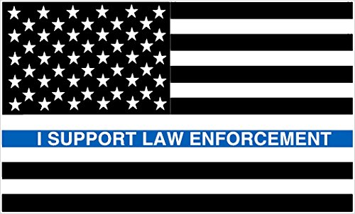 PAIR OF I SUPPORT LAW ENFORCEMENT FLAG BLUE LINE USA VINYL DECALS FOR CAR OR TRUCK