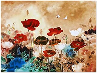 Wieco Art Giclee Canvas Prints Wall Art Blooming Poppies Modern Gallery Wrapped Grace Contemporary Flowers Artwork Colorful Floral Pictures Paintings Ready to Hang for Bathroom Home Decorations