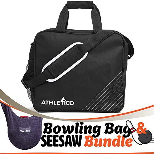 Athletico Essential Bowling Bag & Seesaw Polisher Bundle - Bowling-Einkaufstasche mit einer Kugel und gepolstertem Bowlingkugelhalter