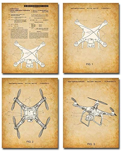Original DJI Quadcopter Drone Patent Prints - Set of Four Photos (8x10) Unframed - Makes a Great Gift Under $20 for Quadcopter Fans