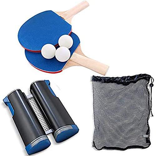 Huahua Set De Ping Pong,Juego De Tenis De Mesa PortáTil,con 2 Raquetas, 3 Pelotas Una Red RetráCtil Y Sacco, para NiñOs Adultos En Interiores/Exteriores