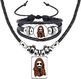 Long-haired Men Women Beard Sunglasses Leather Necklace Bracelet Jewelry Set