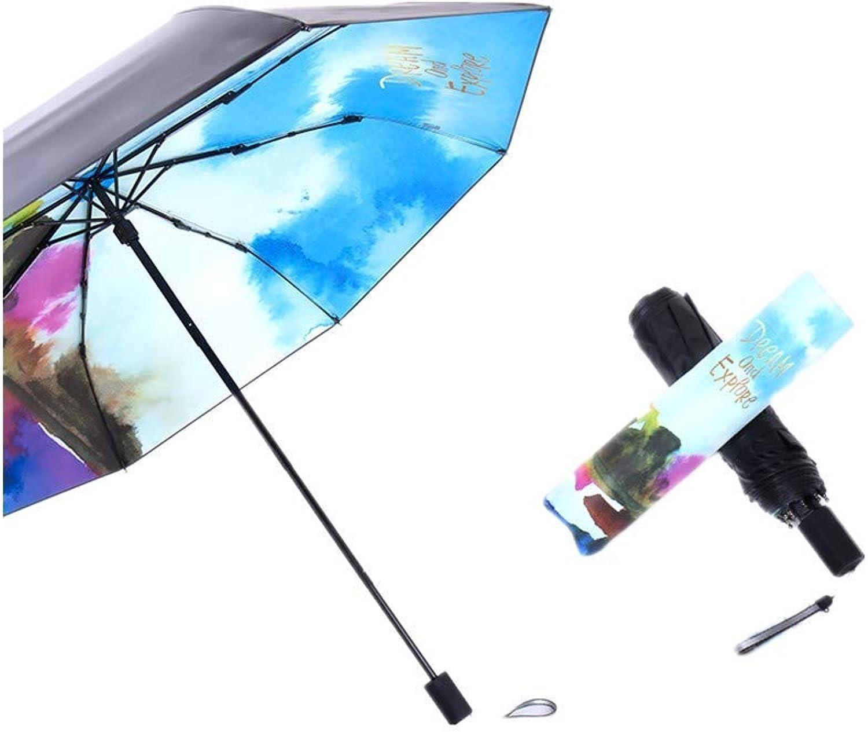 Folding Umbrellas Umbrella Personality DualUse Sunscreen AntiUv Umbrella Folding Simple Small Black Umbrella (Sky blueee), YS