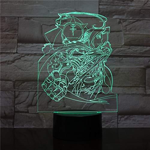 USB Edward Elric Figure Japanese anime Fullmetal Alchemist neon 3D LED Night Light USB Table Lamp Kids birthday Gift Bedside home decoration